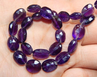 Amethyst Faceted Oval Beads 100% Natural Gemstone Size 8.8x7.2mm Approx  Code - 0194