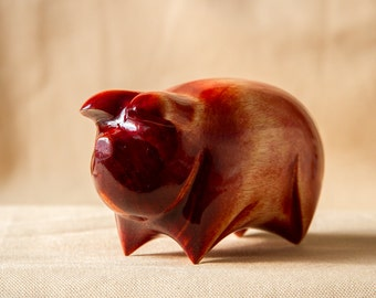 Wooden Pig Statue, Wooden Pig Figurine, Wood Carving, Hand Carved
