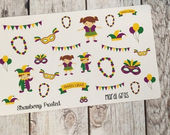 Mardi Gras Themed Planner Stickers - Made to fit Vertical or Horizontal Layout