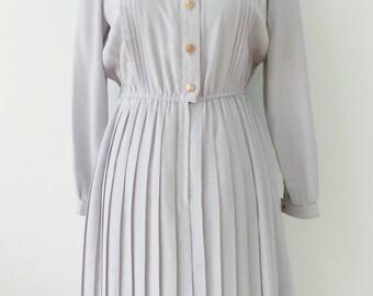 50's Vintage Smoky Purple Grey / Japanese Vintage Dress/ Vintage Dress / Rockabilly Dress / Women Dress / Sizes Medium - Large