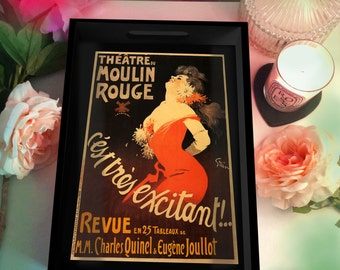 Moulin Rouge Vintage Paris Poster Wood Tray