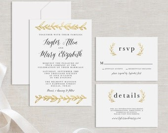 Gold Leaf SAMPLE Wedding Suite Printable Gold Wedding Suite Sample Instant Download Sample Wedding Invitation RSVP Details Card