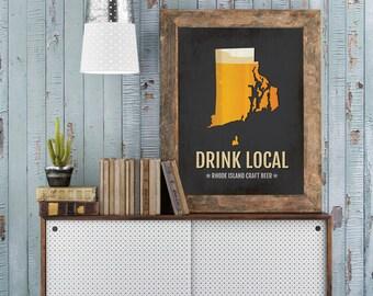Texas beer print map tx drink local craft beer sign for Rhode island craft beer