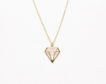 Gold Diamond Shape Necklace, Origami Diamond Necklace, Cute Jewelry, Simple Necklace, Friends Gifts, Dianty Necklace, Gold Plated Necklace