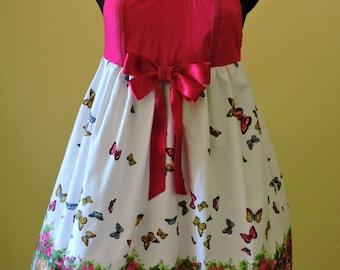 Sweet Lolita Dress, Sweet lolita JSK,Hot Pink dress,Kawaii dress,Wedding guest dress, Butterfly print dress, Country lolita,Midi Print Dress