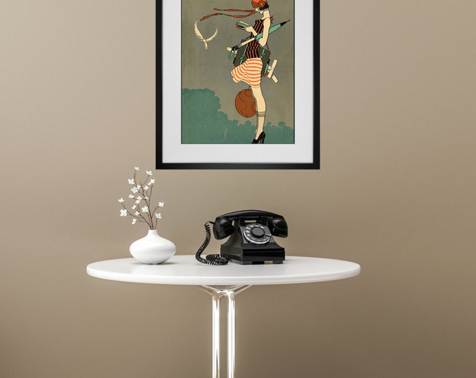 FRAMED WALL ART - Art Deco Print - Vintage Flapper - A Variety of Sizes and Styles Available - Free Shipping - Create a Custom Gallery Wall