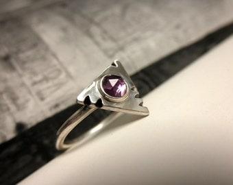 Amethyst Triangle Ring, Size 5.75, Geometric Ring, February Birthstone, Amethyst Ring