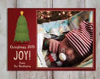 PRINTABLE Photo Christmas Card, Holiday Card: Holiday Christmas Card PRINTABLE 5x7