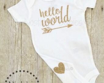 Glitter gold hello world bodysuit, New born outfit, glitter gold bodysuit, Tribal shirt, Arrow one piece, Baby Boy, Girl Tribal