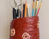 Unique pencil cup, pencil holder, paper mache, spiral design, desk organizer