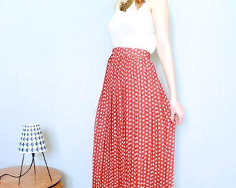 French vintage pleated MIDI SKIRT mid lenght red skirt 1980s high waisted, floral / dots print skirt size 10 Medium. From Paris France