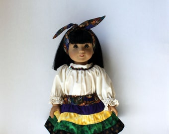 Mardi Gras sequined shirt, tiered skirt and hair tie / belt / sash, American Girl doll, 18 inch doll, hand made,