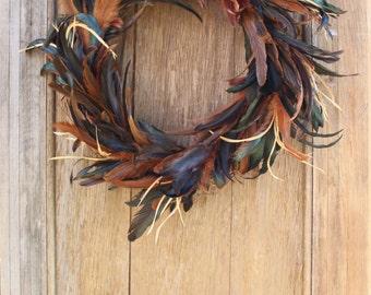 Natural Feather Wreath, Pheasant Feather Wreath, Fall Wreath, Autumn Wreath, Natural Wreath, Rustic Wreath, Thanksgiving Wreath, Boho
