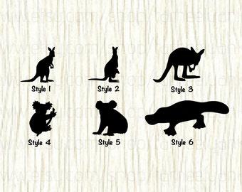 Kangaroo Car Decal, Kangaroo Decal, Koala Car Decal, Koala Decal, Platypus Car Decal,  Wild Animal Decal, Australian Animal Decal, Car Decal