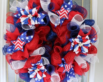 Labor day red white and blue floral deco mesh wreath with LED lights