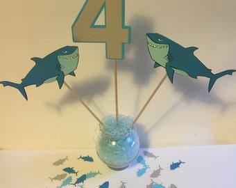 Shark Birthday Party Table Centerpiece