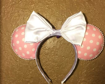 Pink and White Polka Dot Mouse Ears