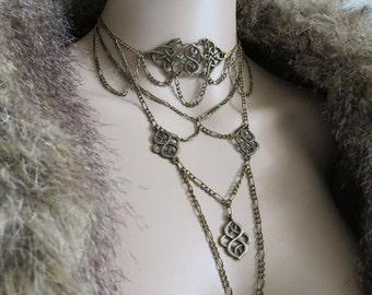 "Necklace ""Myriad"" ras long neck bronze"