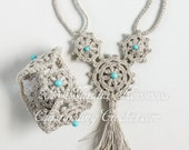 Crochet Beaded Wide Bracelet and Necklace with Tassel Set Pattern - PDF instant download - DIY boho crochet jewelry set- Wrist Cuff