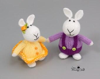Plush bunny rabbit Stuffed bunny couple gift White rabbit Gift for couple Anniversary gift Hand knit bunny pair Wedding gift Stuffed animals