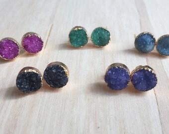 Druzy stud Earrings, Drussy Earrings