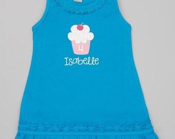 Cupcake Birthday Dress.  Girls Personalized Birthday Dress.  Cute Cupcake Dress.   Infant, Toddler & Girls