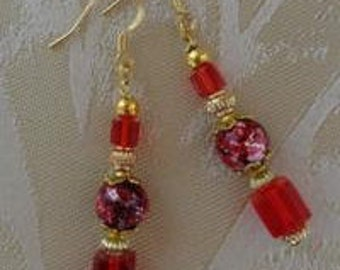 Red and Gold drop earrings