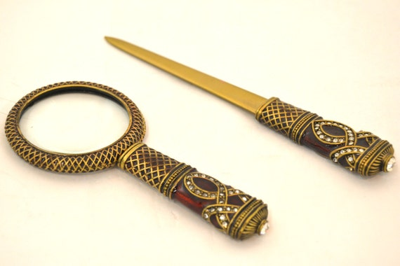 Free Shipping-Vintage Look Letter Opener and Magnifying Glass