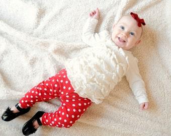Red Polka Dot Leggings, Girls Leggings, Minnie Leggings, Knit, Newborn, Infant, Toddler, Disneyland, Christmas, Mouse, Red and White, Disney