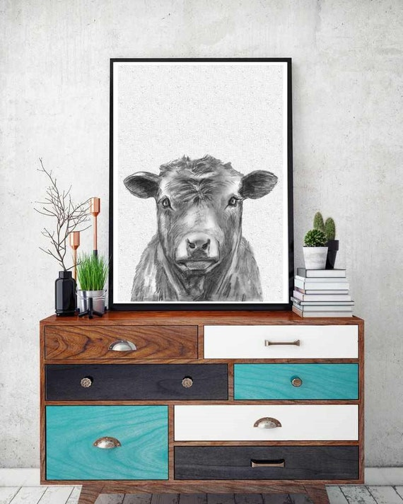 Black Cow Wall Decor : Buffalo print bison wall art black and white cow modern