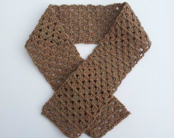 Brown Crochet Scarf in Granny Stripe Pattern, Great Handmade Winter Fashion Accessory
