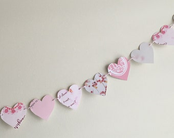 Light pink upcycled greeting cards heart garland: 1 recycled paper heart garland