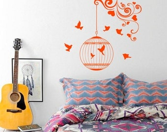 Wall Decal Nature Bird Branch Birdcage Caged Birds Cages Birds Vinyl Sticker Home Décor Bedroom Interior Nursery Design Living Murals M168