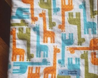 """Flannel Giraffes Minky Baby Blanket-Size 30""""x40"""""""