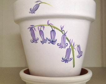 Bluebell Walk - Hand-painted illustrations of English Bluebells on a terracotta flowerpot