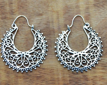 Gypsy Earrings, Silver Hoop Earrings, Boho Earrings, Tribal Earrings, Filigree Earrings, Ethnic Earrings, Indian Earrings, Belly Dance