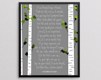 A Midsummer Night's Dream, Shakespeare quote, 8x10 Art Decor Digital Print