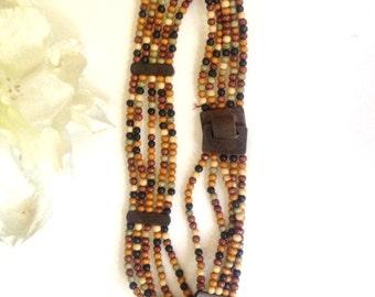 Vintage Wooden Bead Belt,Belt with Wooden Belt Buckle  Tribal belt,BoHo belt,Eco fashion belt