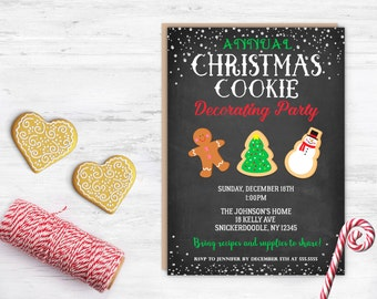 Cookie Decorating Party, Cookie Party Invitation, Annual Cookie Party, Christmas, Printable, Holiday, Gingerbread, Decorate, Chalkboard