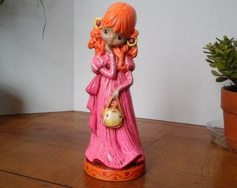70s Girl Figurine, 60s Girl, 11 inch Girl Statue, Big Eyed Girl, ceramic girl for a girl's bedroom