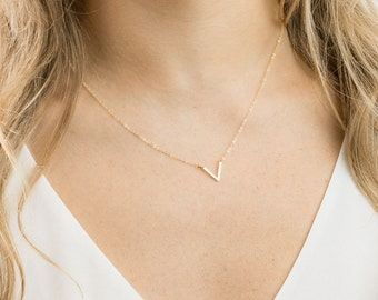 Dainty V Necklace, Thin Gold Chain for Layering / 14k Gold Fill or Sterling Silver Triangle Necklace, Geometric Jewelry / KNOWLEDGE, GN140