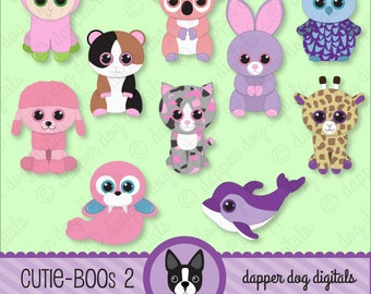 Beanie Boo's Clipart Pack, Glitter Eyes - Commercial Use, Digital Clip Art, Digital Images