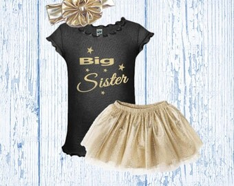 Big Sister Outfit - Big Sister Gold Glitter Outfit - Big Sister Glitter Gold Shirt