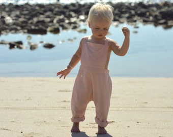 Baby Pink Bay Overalls, Girls Overalls, Cotton Overalls