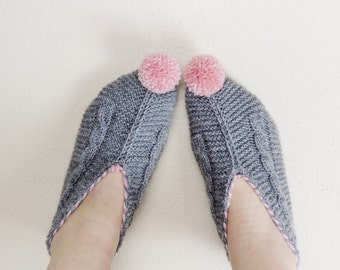 Womens Slippers, Gray Knitted Slippers with Pompoms, Cable Knit House Shoes, Slippers Socks