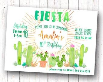 Fiesta Birthday Invitation, Fiesta Invitation, Cactus Birthday Invitation, Cactus Invitation, Fiesta Birthday, Fiesta Baby Shower Invitation