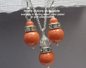 Swarovski Coral Jewelry Set, Coral Pearl Wedding Jewelry Set, Bridesmaid Gift, Maid of Honor Gift, Coral Wedding Jewelry Set