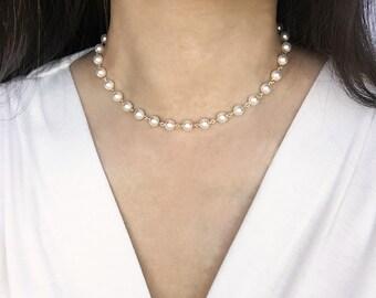 Pearl Choker, Pearl Chain Choker, Pearl Necklace, Gold Pearl Choker