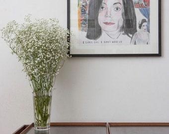 Original Michael Jackson Wall art, painting, Michael Jackson Art print, OOAK Poster, Jackson Poster, pop art portrait, Leave me Alone #5