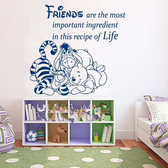 Winnie the pooh wall decal quote friends are by for Baby pooh and friends wall mural